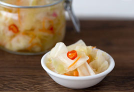 Consume pickled cabbage to restore the gut flora